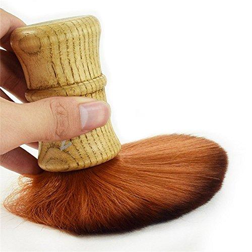 Cepillo profesional Barber cuello plumero cepillo Peluquería corte eliminación cepillo Brocha de afeitar hecha a mano 100% Mango de madera de lujo suave pelo maquillaje herramienta SZ08