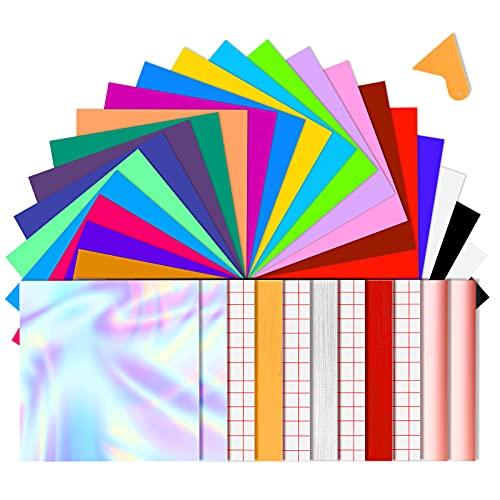 BOENFU 37 zelfklevende vinylvellen, 33 verschillende kleurenvellen 12 x 12 (30,5 cm* 30,5 cm) + 4 transfertape vellen voor huisdecoratie, ambachtelijke projecten, sticker, autosticker, raamgraphics, logo, brieven, banners