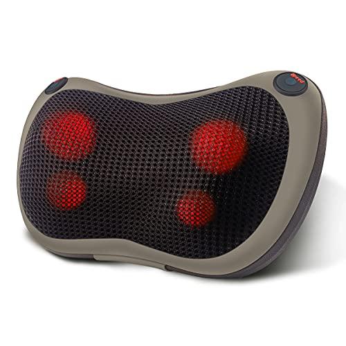 IMMEK Cojín de masaje Shiatsu, dispositivo de masaje con función de calor, dispositivo de masaje cervical giratorio 3D para cuello, hombros, espalda, relajación muscular, para casa, oficina o coche