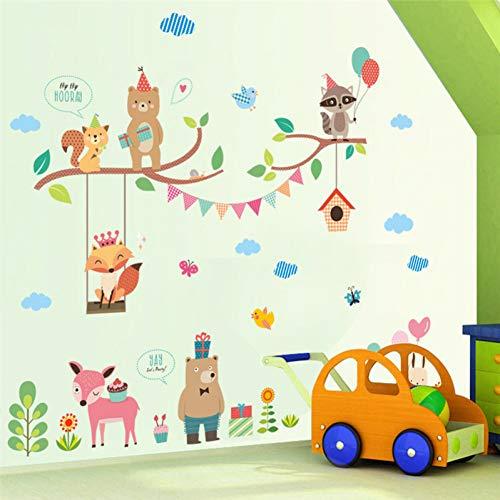 TYOLOMZ Dieren Wereldmuur Stickers voor Kids Kamer Decoratie Home Decals DIY Safari Fox Uilen Fotobehang Kunst Posters Kinderen Gift
