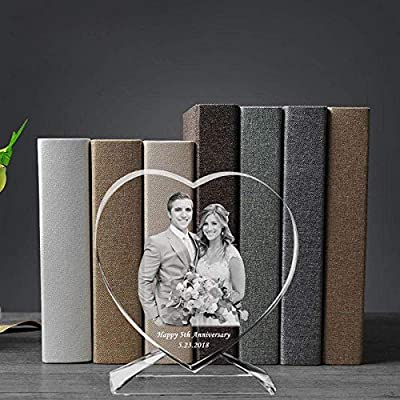 3D Laser Engraved Crystal Photo Frame with Stand Heart Shaped Love Glass Picture Cadre Albums Gifts for Valentines Day Wedding-Customized_10 x 10 cm