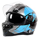 FreedConn Casco de motocicleta Bluetooth integrado, con intercomunicador Bluetooth integrado,...