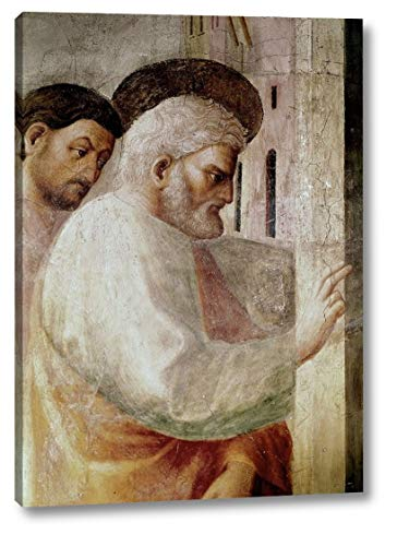 """Healing of The Cripple and The Resurrection Oftabitha by Masaccio - 27"""" x 38"""" Canvas Art Print Gallery Wrapped - Ready to Hang"""