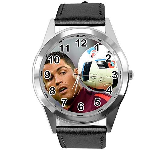 TAPORT® Quarzuhr mit Ronaldo-Motiv, schwarzes Lederarmband, mit Ersatzbatterie und Geschenkverpackung