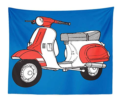 TOGGIP Funky Tapestry King Size, Comic Style Scooter Motorcycle Retro Vintage Soho Wheels Rome Graphic Print, Wall Hanging Bedspread Bed Cover Wall Decor, 104
