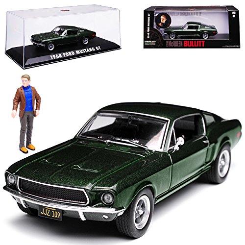 Greenlight Ford Mustang Bullitt Grün Coupe mit Figur Steve McQueen 1968 1/43 Modell Auto