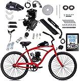 Fayelong Kit Di Conversione Bici Elettrica Aggiornamento A 2 Tempi 80cc, Kit Motore Per Bicicletta Motore A Benzina Benzina Fai Da Te Impostato Per Bici Da 24', 26' E 28' (Nero,con tachimetro)