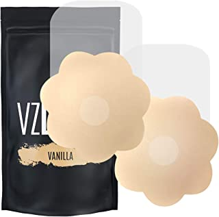 VZLUSH Invisible Breast Lift Petals Pasties with Soft Nipple Covers Waterproof Reusable Washable Adhesive