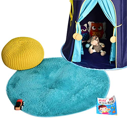 Plush Baby Crawling Mat Round Carpet Area Rug Use In Nursery Teepee Tent Game Play House, Washable Floor Mats, Kids Room Decorations,Blue