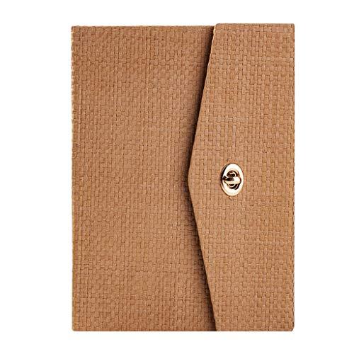 ZJH Agenda Agenda A5 Retro Cuaderno, Diario lineal con hebilla de metal, Diarios universales para hombres y mujeres, 15,7 x 20,5 cm