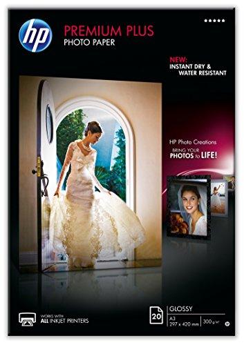 HP Premium Plus CR675A - Papel Fotográfico Brillante (20 Hojas, A3), Blanco