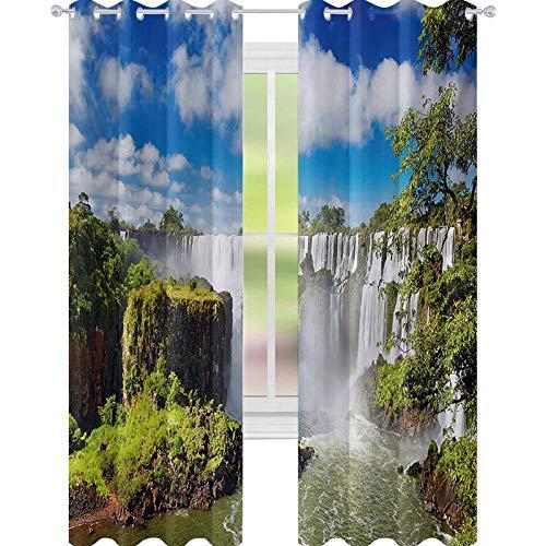 YUAZHOQI - Cortinas opacas para dormitorio (132 x 274 cm), diseño de cascada y cataratas argentinas