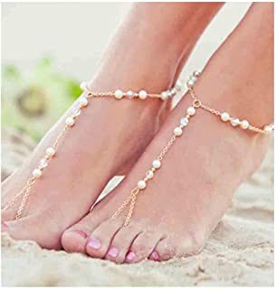 Olbye Pearl Toe Ring Anklet Bracelet Gold Barefoot Sandals Personalize Foot Chain Jewelry for Women and Girls Beach Weddin...