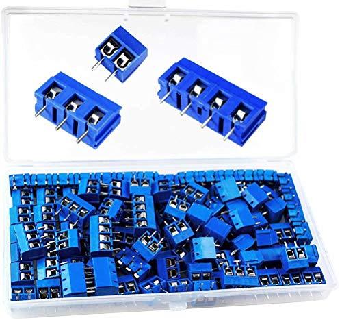 beihuazi® PCB Schraubklemmen Screw Terminal Block Lötbare Schraubklemme 300V,16A für Arduino(100 Stück,5mm,Blau,2 Pin-85, 3 Pin-10, 4 Pin-5)
