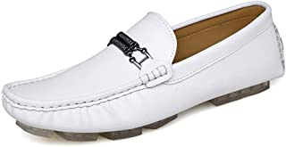 LFSP Mens Penny Loafers Boat Shoes Casual Driving Loafer for Men Fashion Boat Shoes with Metal Buckle Flat Penny Shoes Slip-on Microfiber Upper Lightweight A (Color : White, Size : 44 EU)