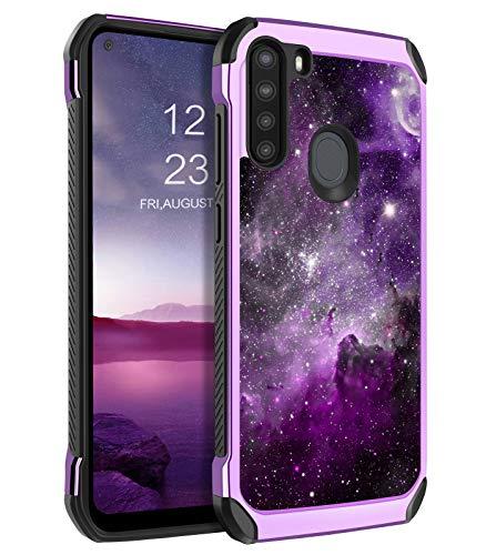 BENTOBEN Galaxy A21 Case, Slim Glow in The Dark Shockproof Drop Protective 2 in 1 Hybrid Hard PC Soft TPU Bumper Cover Nebula Space Design Dual Layer Cute Phone Case for Samsung Galaxy A21, Purple