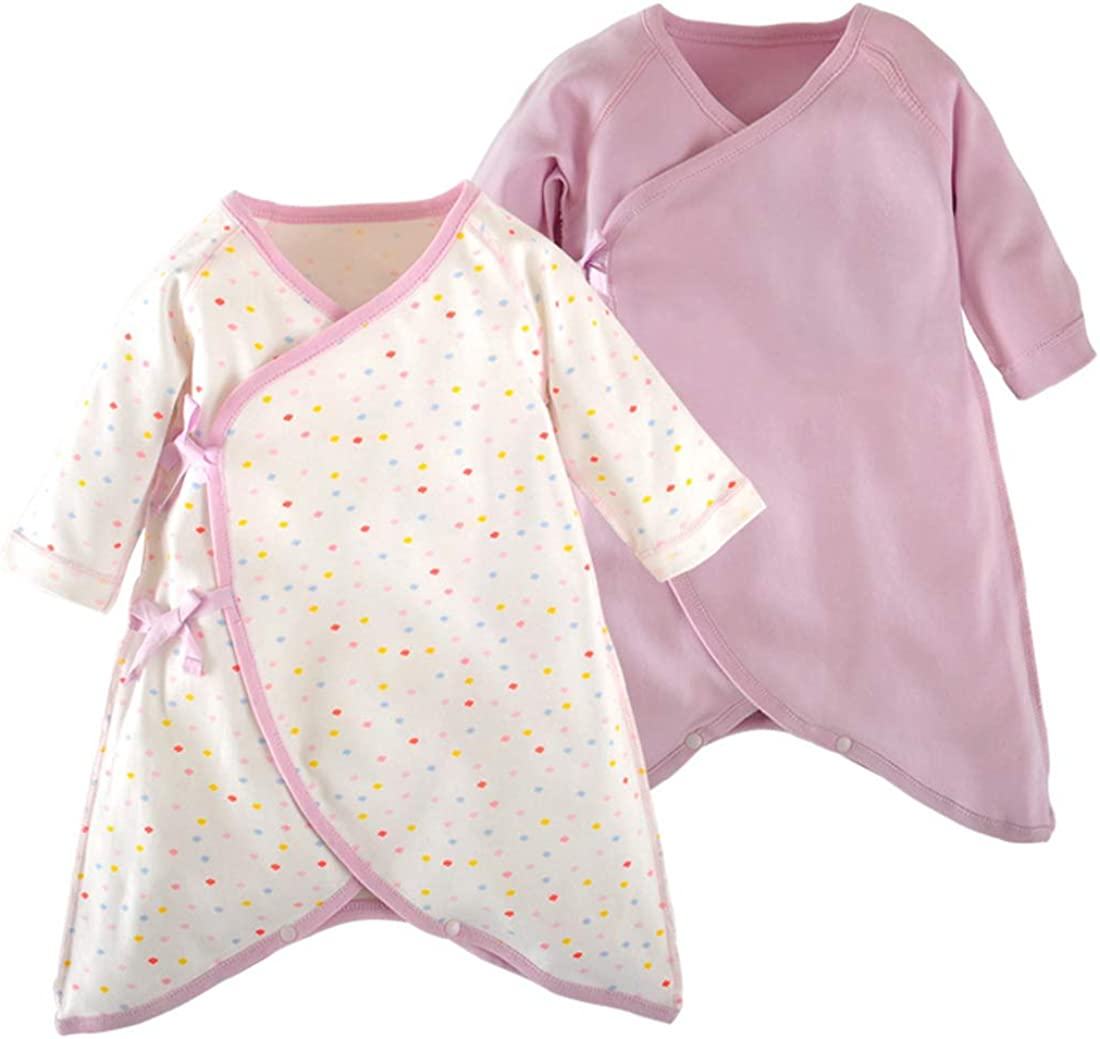 PAUBOLI Newborn Kimono Robe Organic Cotton Long Sleeve Baby Romper 2-Pack