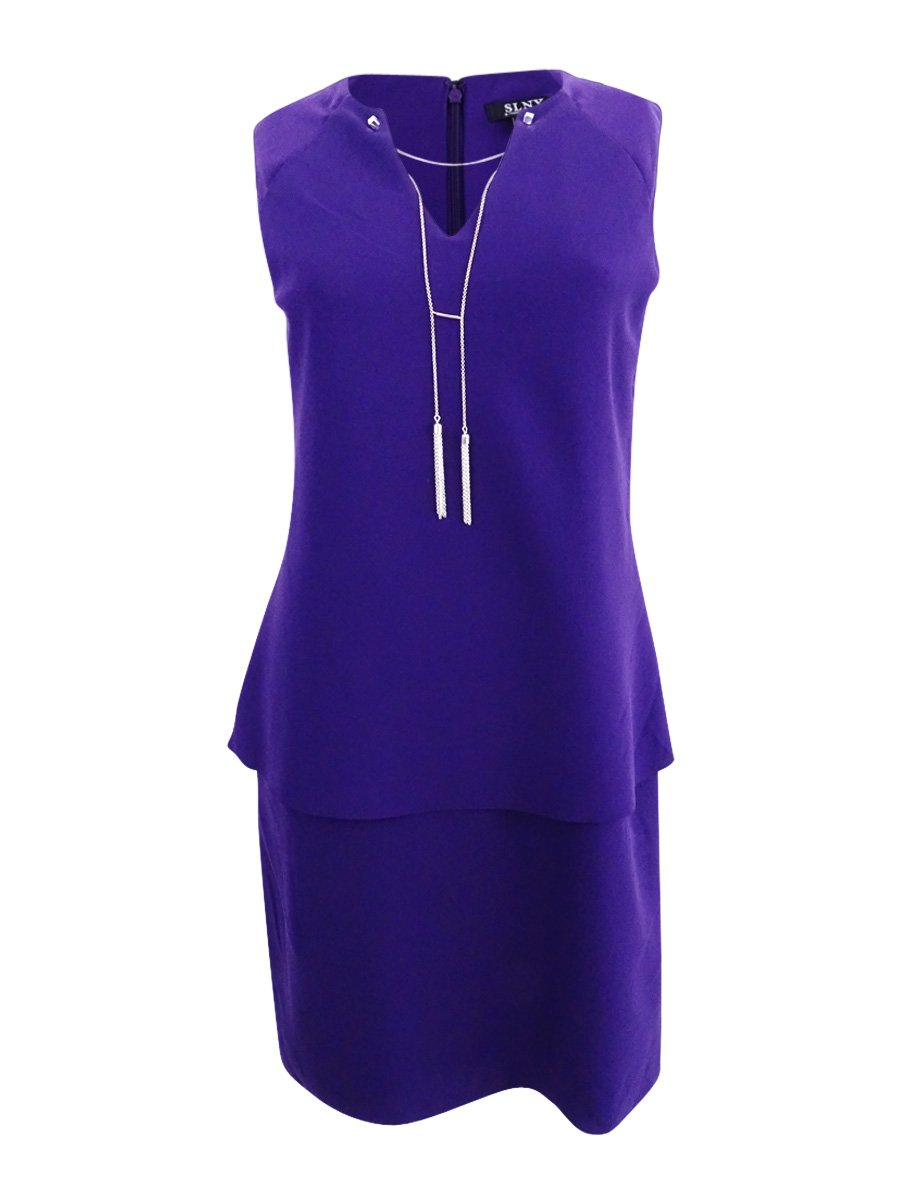 Available at Amazon: SL Fashions Women's Tassel-Necklace Popover Sheath Dress