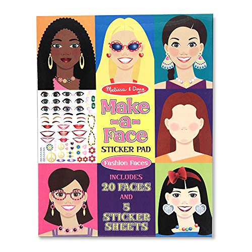 Melissa & Doug 4195 Make-a-Face Sticker Pad- Fashion Faces, 20 Faces, 5 Sticker Sheets, White