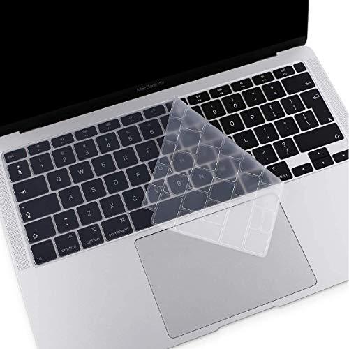 MOSISO Cubierta de Teclado Compatible con MacBook Air 13 2020 A2179 con Touch ID, Mágico Retroiluminado Skin Piel de Silicona Protectora Impermeable a Prueba de Polvo,Transparente