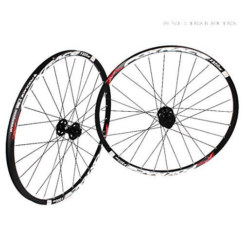 GJZhuan Juego Ruedas para Bicicleta MTB, Llanta de Aluminio de Aleación Montaña Juegos de Ruedas Freno de Disco Liberación Rápida 24 Radios de Las 7/8/9/10/11 Velocidad (Color : Black, Size : 26inch)