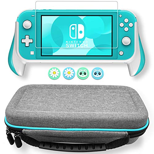 JUSPRO Ergonomic Grip Bundle Compatible with Nintendo Switch Lite, Accessories Kit Includes: Comfort Handheld Case + Carrying Case + HD Screen Protector + Thumb Grips Caps