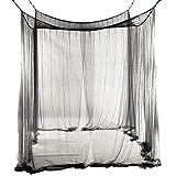 JYCRA - Mosquitera para cama de matrimonio, rectangular, color uniforme, para cama con dosel, con 4 aberturas, fácil instalación, poliéster, negro, 190cm x 210cm x 240cm