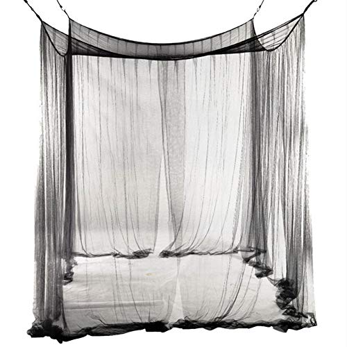 JYCRA Moskitonetz für Doppelbett, rechteckig, einfarbig, Betthimmel, Betthimmel mit 4 Öffnungen, einfache Installation, Polyester, Schwarz , 190cm x 210cm x 240cm