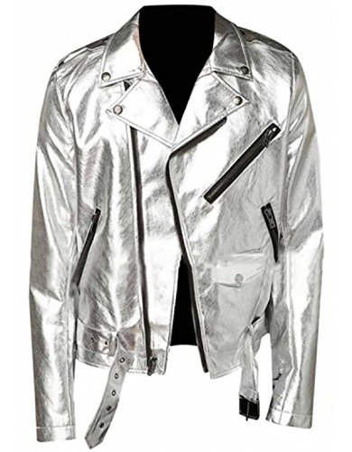 III-Fashions Mens New Shiny Silver Brando Slim Fit Motorcycle Belted Leather Jacket