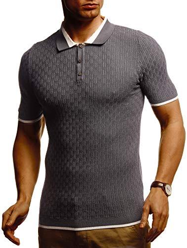 Leif Nelson Herren Polo Shirts Sommer T-Shirt Poloshirt Slim Fit aus Feinstrick Cooles Basic Männer Polo-Shirt Jungen Kurzarmshirt Sweater Kurzarm LN7360 Dunkel Grau Medium