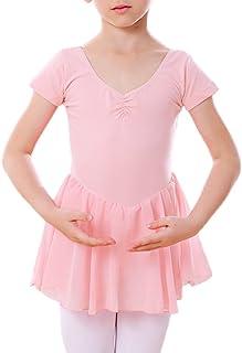 DANCEYOU Ballettkleid Mädchen Ballettanzug Balletttrikot Tanzkleid mit Rock und Kurze Ärmel