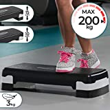 Physionics Aerobic Steppbrett - 2 Stufen (10 und 15 cm) höhenverstellbar, Anti-Rutsch Gummibezug, max. 200kg - Fitness Stepper, Stepboard, Stepbank,...