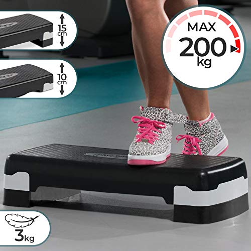 Physionics Aerobic Steppbrett - 2 Stufen (10 und 15 cm) höhenverstellbar, Anti-Rutsch Gummibezug, max. 200kg - Fitness Stepper, Stepboard, Stepbank, Stepbench, Step Cardio Workout für Zuhause