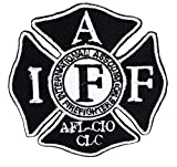Patches IAFF Fire Fighters International Association Black and White Patch Sew Iron on Embroidered Applique Patches Badge for Clothing,Jacket,Backpack, Jeans,Craft,Hat Bag Decorations