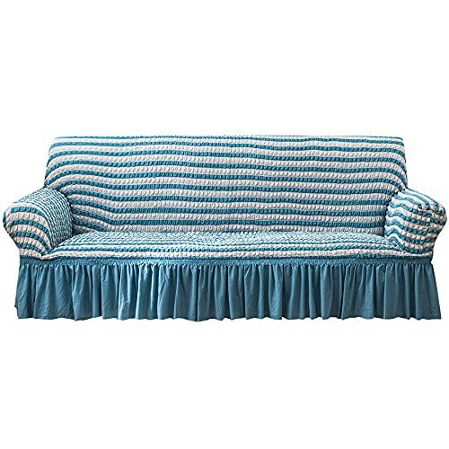 Cubierta Forros para Sofas,Funda de sofá con Falda, Funda de sofá de Jacquard, Funda de sofá de Gran Elasticidad, Tela de Seersucker Lavable y Duradera a Rayas Blue_M