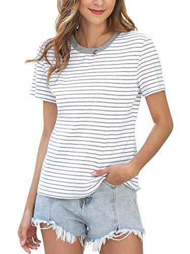 MessBebe Damen T Shirt Kurzarm Streifen Oberteile Sommer Baumwolle Casual Rundhals Loose Fit Bequem Tops Bluse Grau S