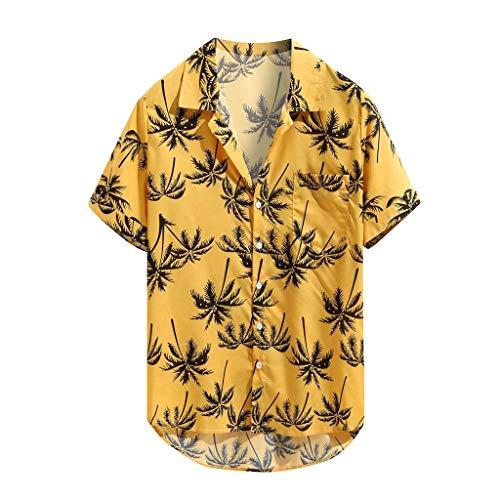 Xmiral Camicia Maniche Corte Camicie Casual da Uomo Stampate a Manica Corta da Uomo Summer Tops (6- Giallo, 3XL)