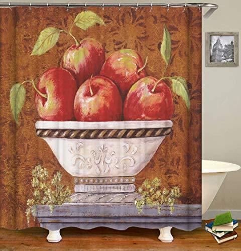 ZZZdz Ölgemälde. Apfel. Duschvorhang: 180 X 180 cm. Wasserdichter Stoffteppich Für Duschvorhang. Bad Duschvorhang Set Polyesterfaser Bad Duschvorhang.