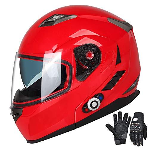 FreedConn Motorcycle Bluetooth Helmets,Bluetooth Integrated Modular Flip up Full Face Motorcycle Helmet,Dual Visor Modular Bluetooth Helmet,Mp3 FM Intercom DOT Approved Helmet(Red, Medium)