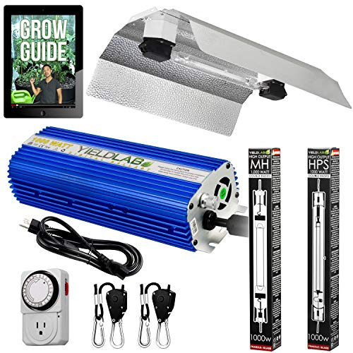 Yield Lab Horticulture 1000w Double Ended HPS MH Grow Light Wing Reflector Kit Full Spectrum System For Indoor Plants And Hydroponics – Free Timer and 12 Week Grow Guide DVD