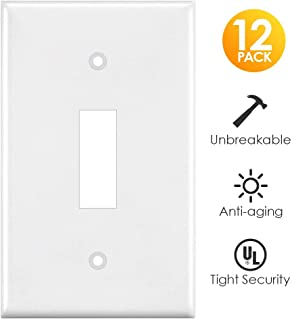 Light Switch Cover, White 12 Pack Switch Plates Covers Single Gang Toggle Wall Outlet Covers, Standard Size, Unbreakable Polycarbonate