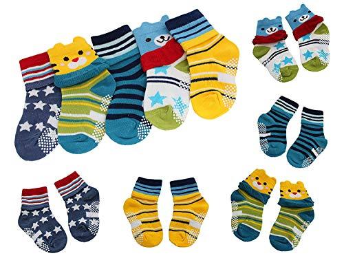 Colourful Baby World 5 Paires Bébé Garçon Fille Ours Étoiles Rayures Anti-dérapant Chaussettes Hautes Age 1 2 3 - Multicolore, Age 4 to 6