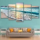 ウォールアートHDプリント絵画モジュラーポスター写真キャンバスビーチで日没海景ホームデコレーション現代で5つのパネル波 (Color : Frame, Size (Inch) : 20x35 20x45 20x55cm)