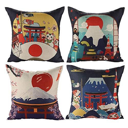 Gspirit 4 Pack Japón Montaña Fuji Algodón Lino Throw Pillow Case Funda de Almohada para Cojín 45x45 cm