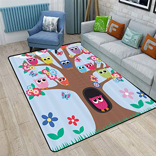 Owl Decor Kids Area Rugs, Cute Owls on Tree BFF Best Friends Forever Home Accent Design for Friendship Safe for Hardwood Floors and All Surfaces, 6' x 9' Multicolor