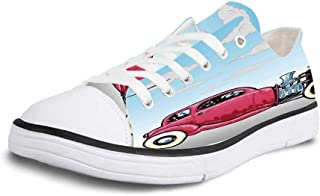 K0k2t0 Canvas Sneaker Low Top Shoes,Cars Mini Vintage Vehicles on The Road Driving Cars with Various Vibrant Colors