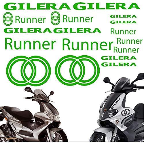 SUPERSTICKI Gilera Runner Set Grün ca 30cm Motorrad Aufkleber Bike Auto Racing Tuning aus Hochleistungsfolie Aufkleber Autoaufkleber Tuningaufkleber Hochleistungsfolie für alle glatten Fläc