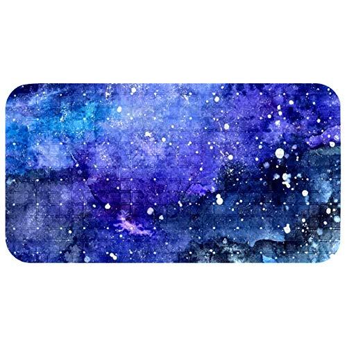 Anmarco Alfombrilla antideslizante para bañera con pintura de cielo estrellado de noche con estampado azul de PVC con potente ventosa de agarre para baño de 37,3 x 68,3 cm