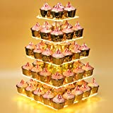 Weddingwish Pastry Stand 5 Tier Acrylic Cupcake Display Stand Cake Stand Dessert Stand Cupcake holder Pastry serving platter Candy Bar Party Décor Wedding Birthday Holidays,Christmas(Yellow Light)