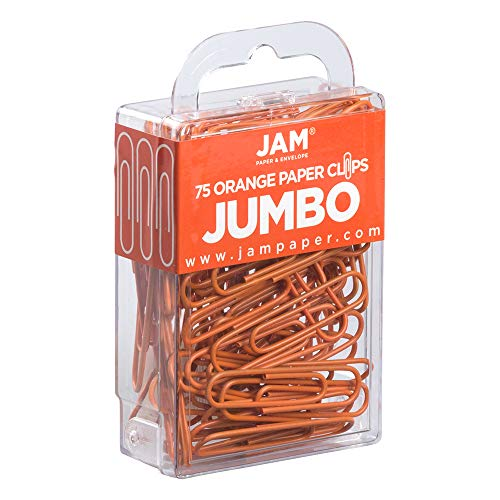 JAM Paper Colored Jumbo Paper Clips - Orange Paperclips - 75/pack Photo #4
